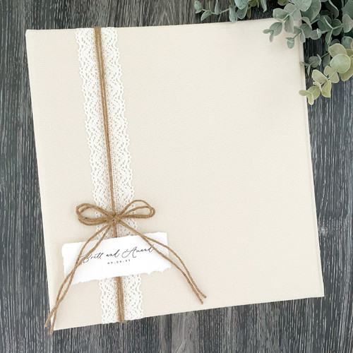 Champagne Linen & Lace Wedding Book  | 100% Linen | READY TO SHIP