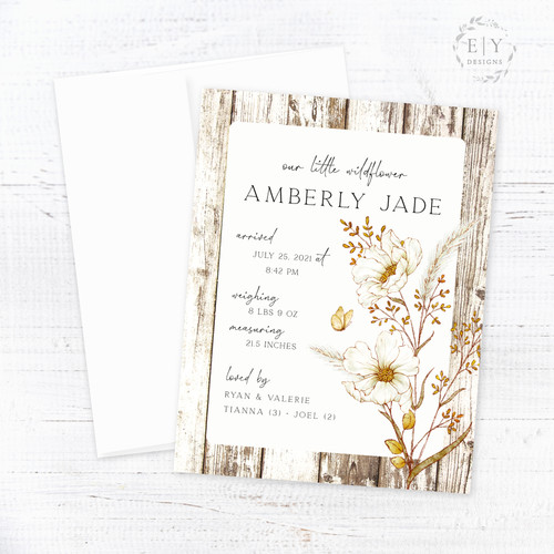 Rustic Wildflowers Birth Announcement