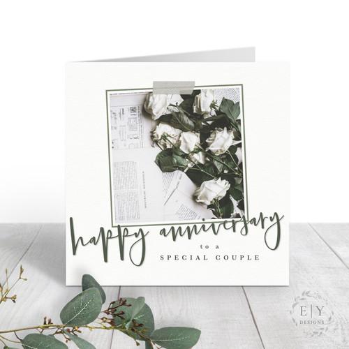 White Roses Anniversary Card
