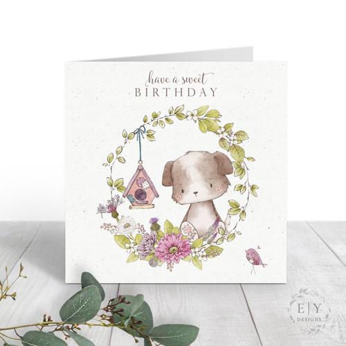 Cute Dog & Bird House Birthday Card