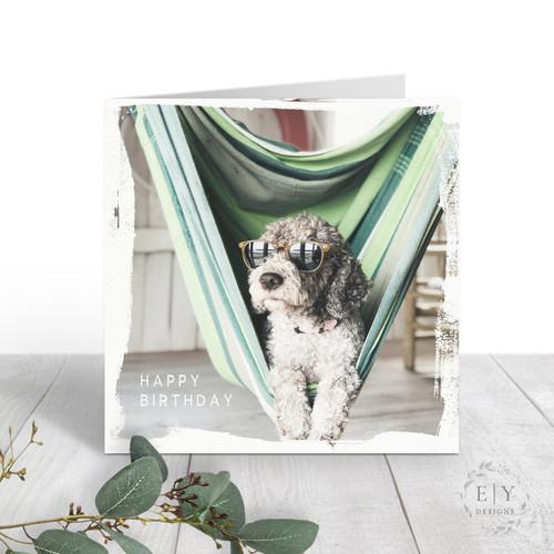 Cool Dog in Hammock Birthday Card