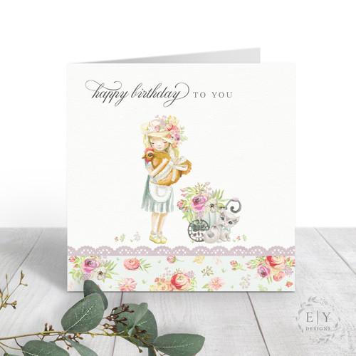 Girl & Hen Birthday Card