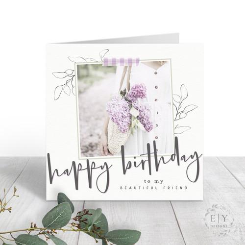 Basket of Lilacs Friend Birthday Card