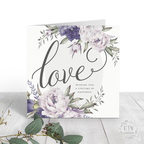 Peonies Wedding Card