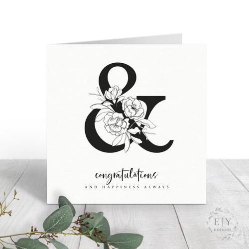 Floral Ampersand Wedding Card