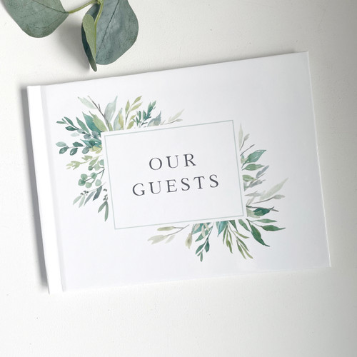 Hard Cover Greenery Guest Book // SECONDS SALE // READY TO SHIP