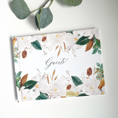 Hard Cover Magnolia Floral Guest Book // SECONDS SALE // READY TO SHIP