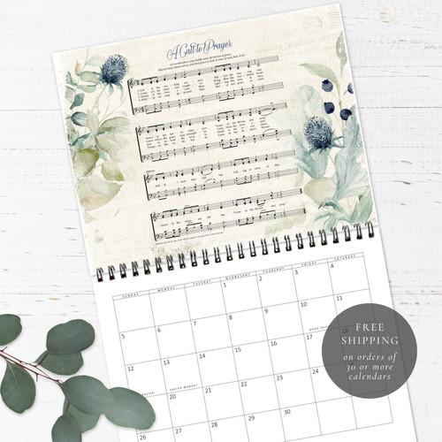 Hymns and Florals Birthday Calendar | Congregational or Family Birthday Calendar