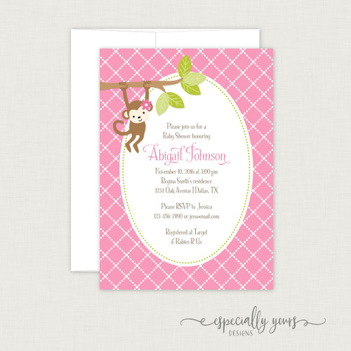 Pink Monkey Baby Shower Invitation
