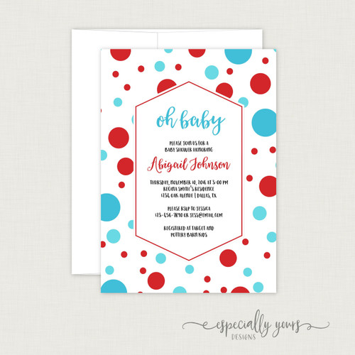 Blue Red Dots Baby Shower Invitation