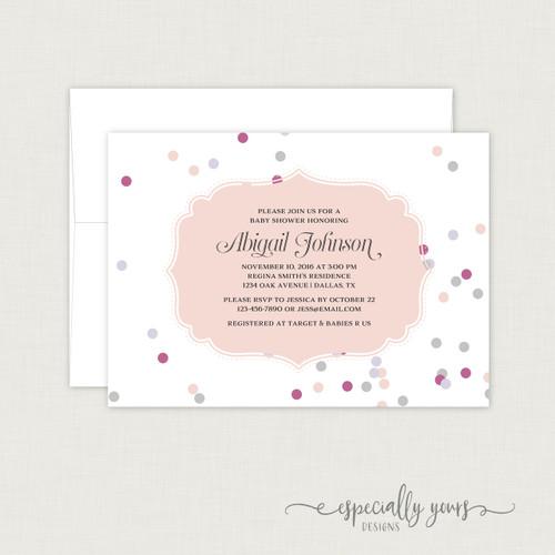 Pink & Purple Confetti Baby Shower Invitation