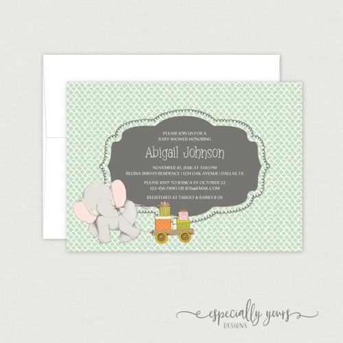 Whimsical Elephant & Wagon Baby Shower Invitation