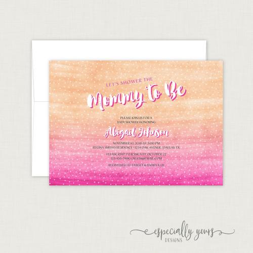 Orange Pink Watercolor Baby Shower Invitation