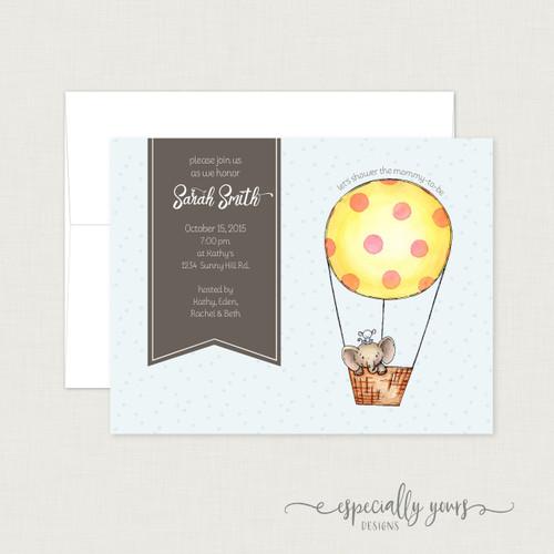 Elephant Hot Air Balloon Shower Invitation