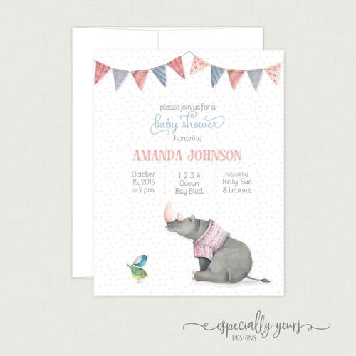 Watercolor Rhino Baby Shower Invitation