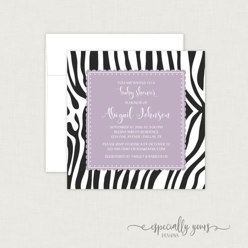 Zebra Print Purple Baby Shower Invitation