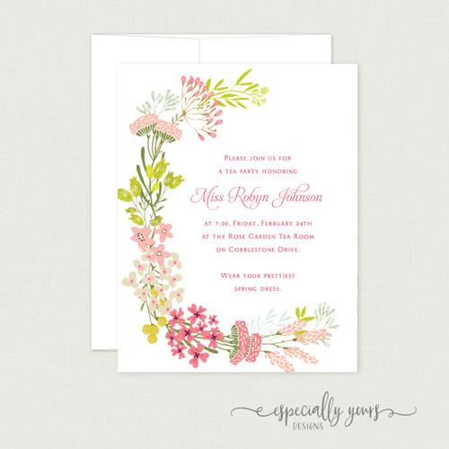 Pink & Green Floral Frame Bridal Shower Invitation