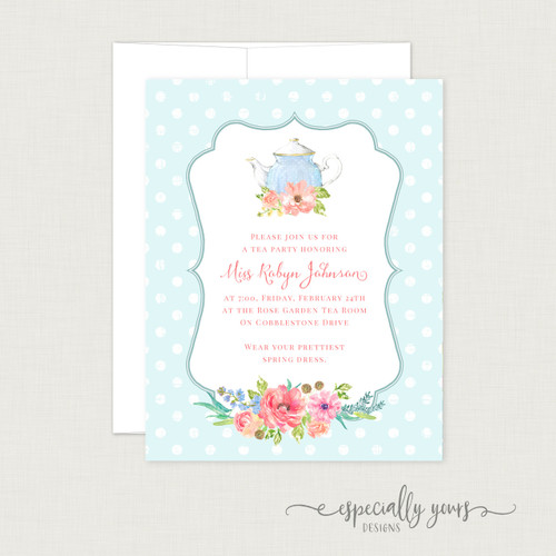 Tea Party Floral Bridal Shower Invitation