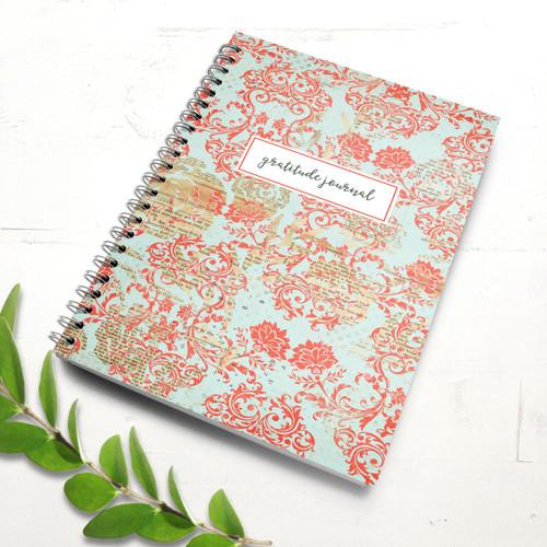 Red & Blue Vintage Damask Gratitude Journal