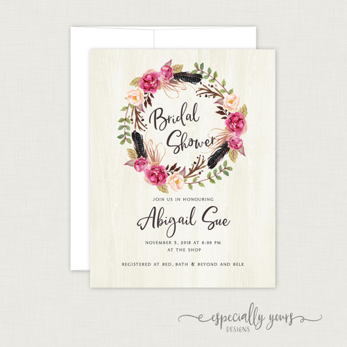 Wooden Boho Wreath Bridal Shower Invitation