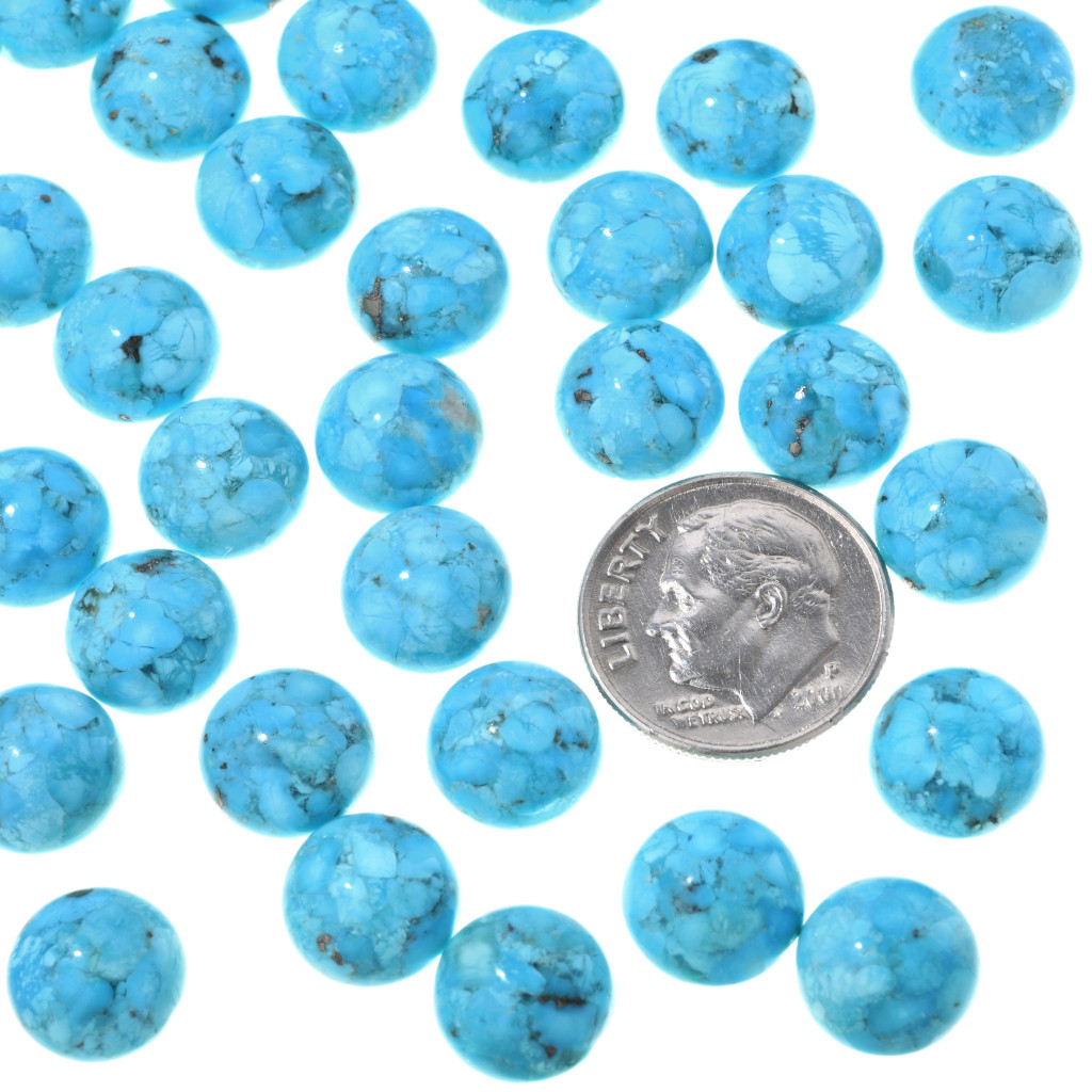 RSCRS-10TQ 10 Pieces Rose 10mm Resin Cabochon Turquoise