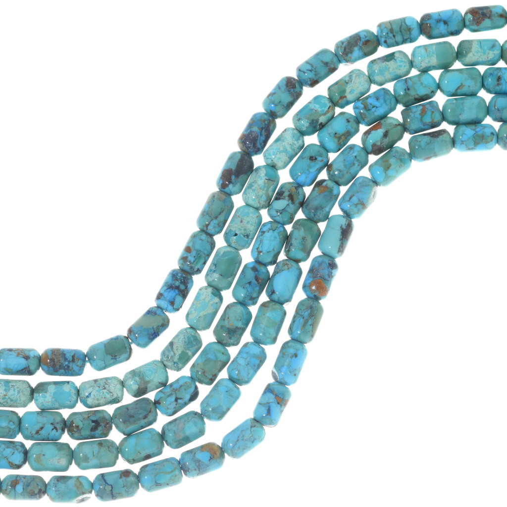 Indian Jewelry Supplies Turquoise Barrel Beads 16 Inch Strand 6mm x 8mm 5153