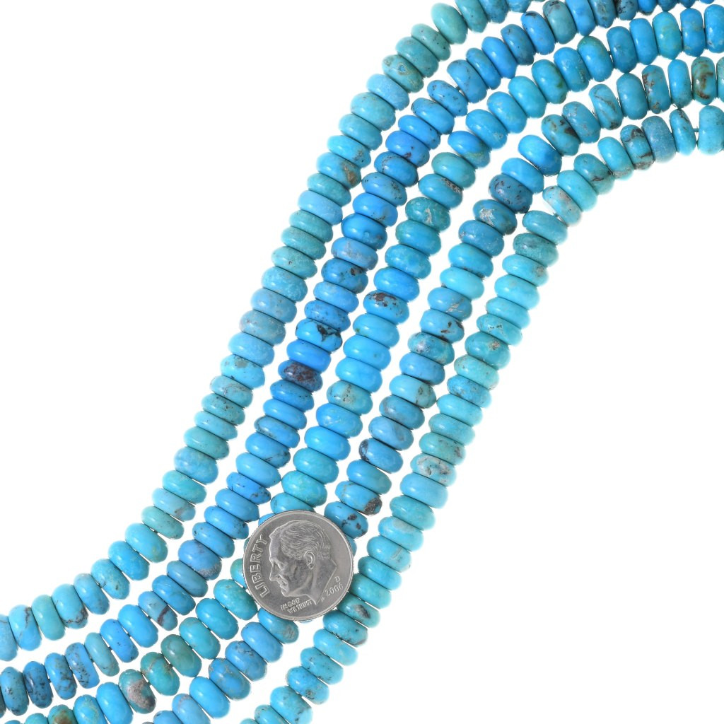 15.5 strand dyed #1 approx 4mm x 2mm Flat Heishi Rondelle  Disc Beads High Quality White Turquoise