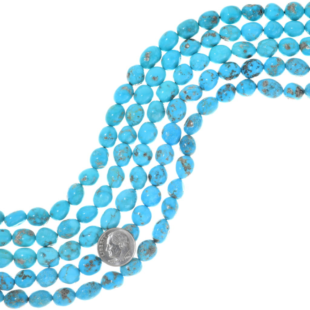 Mohave Green Turquoise calibrated nugget 9x11 Arizona turquoise 16 bead strand MGCN