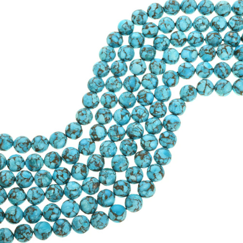 Blue CAMPITOS Turquoise Beads 5x7mm Barrel Beads with pyrite Quality Strands