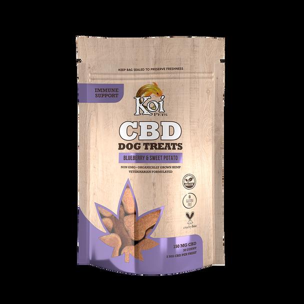 Koi CBD Dog Treats, Immune Support, Blueberry & Sweet Potato, 30 pcs,150mg