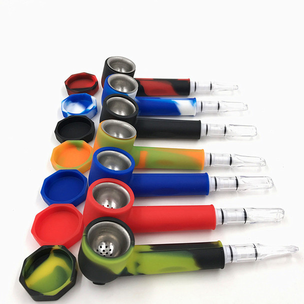 Silicone hand pipe with Aluminum insert - Assorted Colors