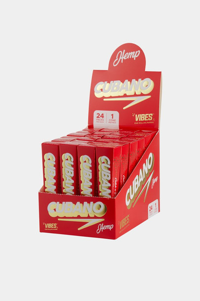 Vibes King Size Hemp Cubano Cones - 24 Pack Display