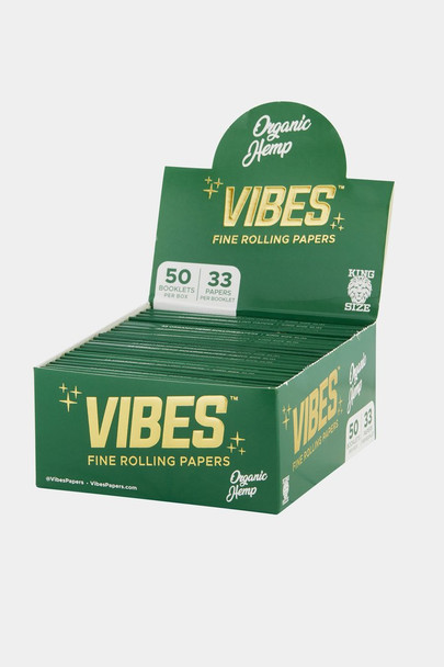 Vibes King Size Slim Organic Hemp Papers - 50 Booklet Display