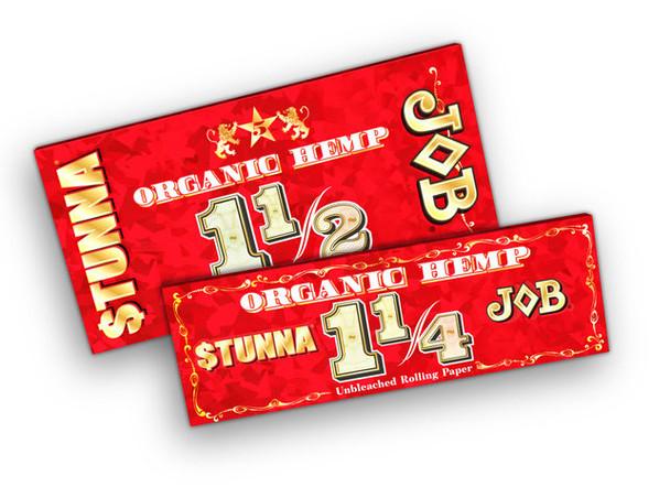 JOB x STUNNA Organic Hemp Unbleached Rolling papers - 24 Count Box