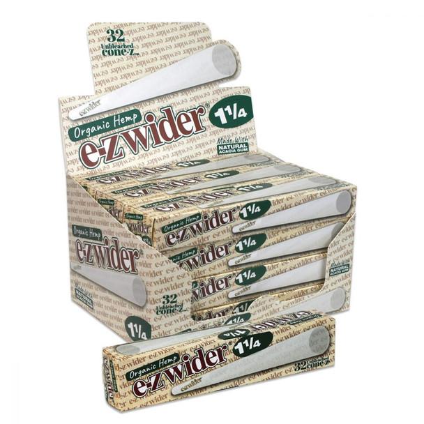 E-Z Wider Organic Hemp Cones 1-1/4 Size - 12 (32 Packs)