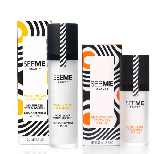 Smooth Out Recovery Serum with Hyaluronic acid and SeeMe Complex with secondary box and  Walking on Sunshine SPF30 with SeeMe Complex and secondary box