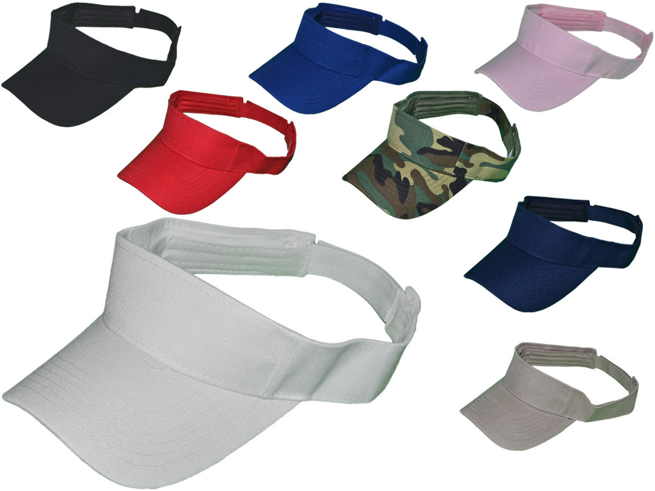 Wholesale Cotton Blank Sun Visors Hats (White)Blank Sun Visor Hats BK Caps  (8 colors available) fed92ea077f