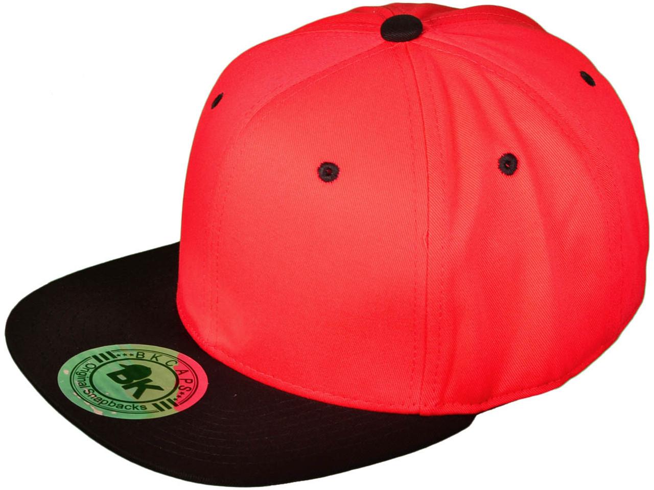 d0fbbff536c Flat Bill Blank Plain Snapback Hats - BK Caps Cotton w  Green Underbill  (Red Black) - 21144