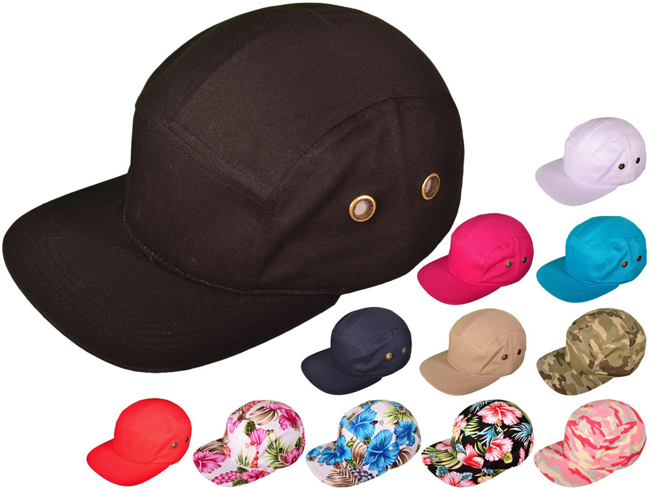 60ecbe973 5 Panel Biker/Painter Hats - BK Caps Flat Bill Cotton Caps w/Leather  Strapback (12 Colors Available) - 21496