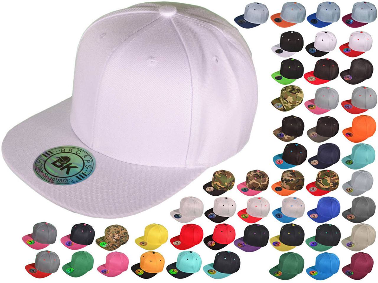 87f868d6 Blank Snapback Hats - BK Caps Flat Bill Plain Vintage Snapbacks with Same  Color Underbill - 3003