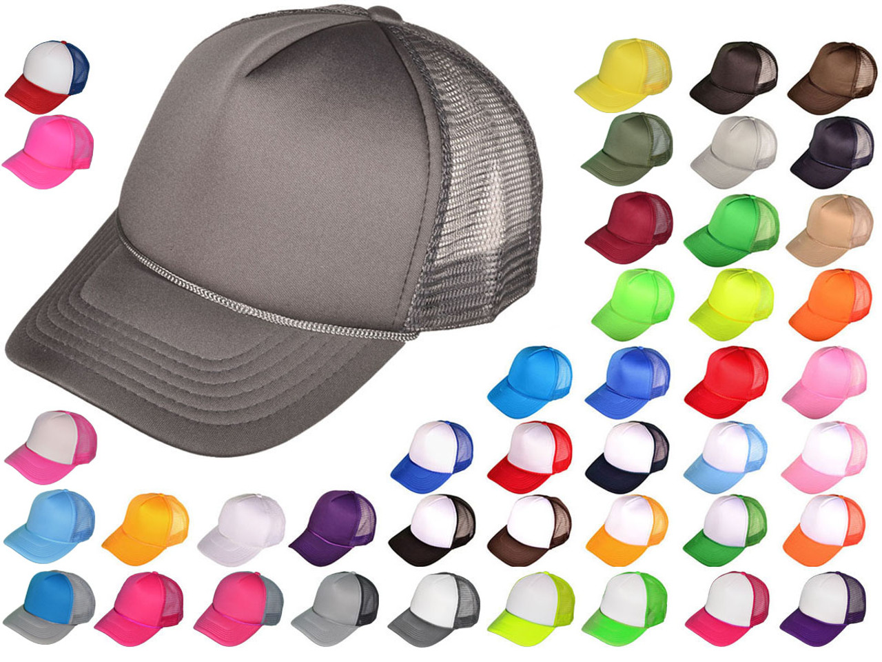 602a615942247b Wholesale Mid Profile Polyester Foam Front Mesh Back Trucker Hats ...