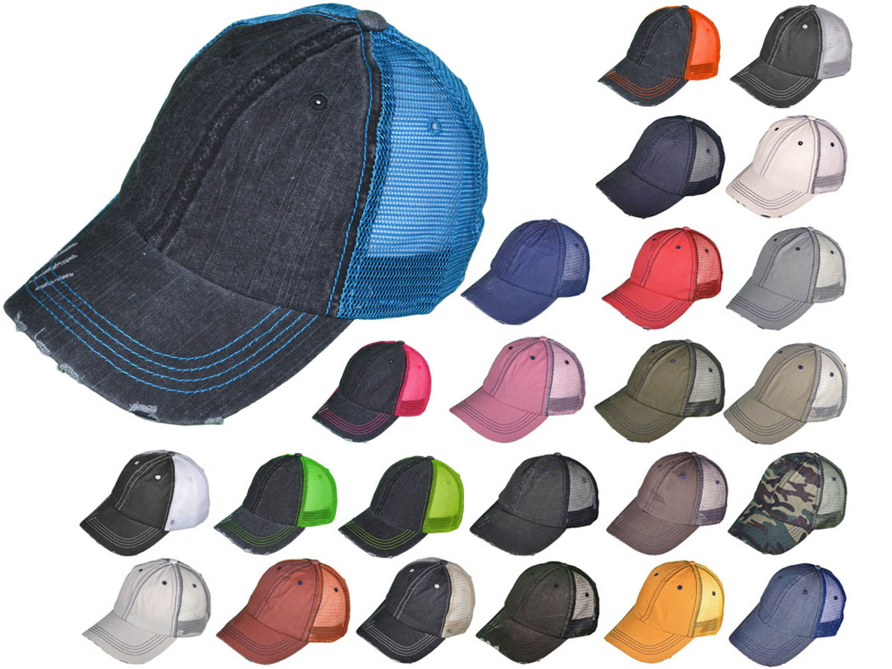 33ecbbb76a9 ... Low Profile Unstructured Washed Frayed Cotton Blend Twill Mesh BK Caps  (24 Colors) - 21504 · Vintage Distressed Trucker Hats