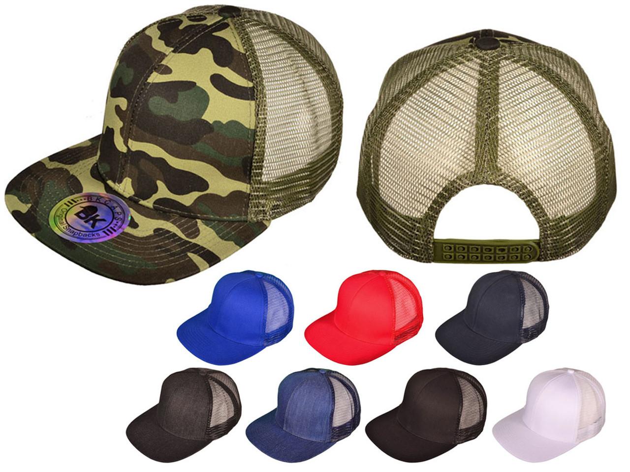 Flat Bill Trucker Hats - BK Caps SnapBack Mesh (8 Colors Available) - 21507
