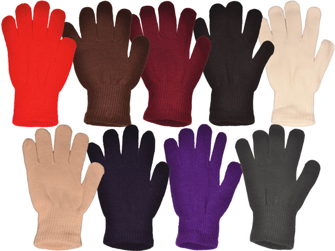 High Desert Gear Unisex Winter Knit Magic Gloves Novelty Colors One-Size Fits Most Adults Teenagers 12 Pairs 1 Dozen