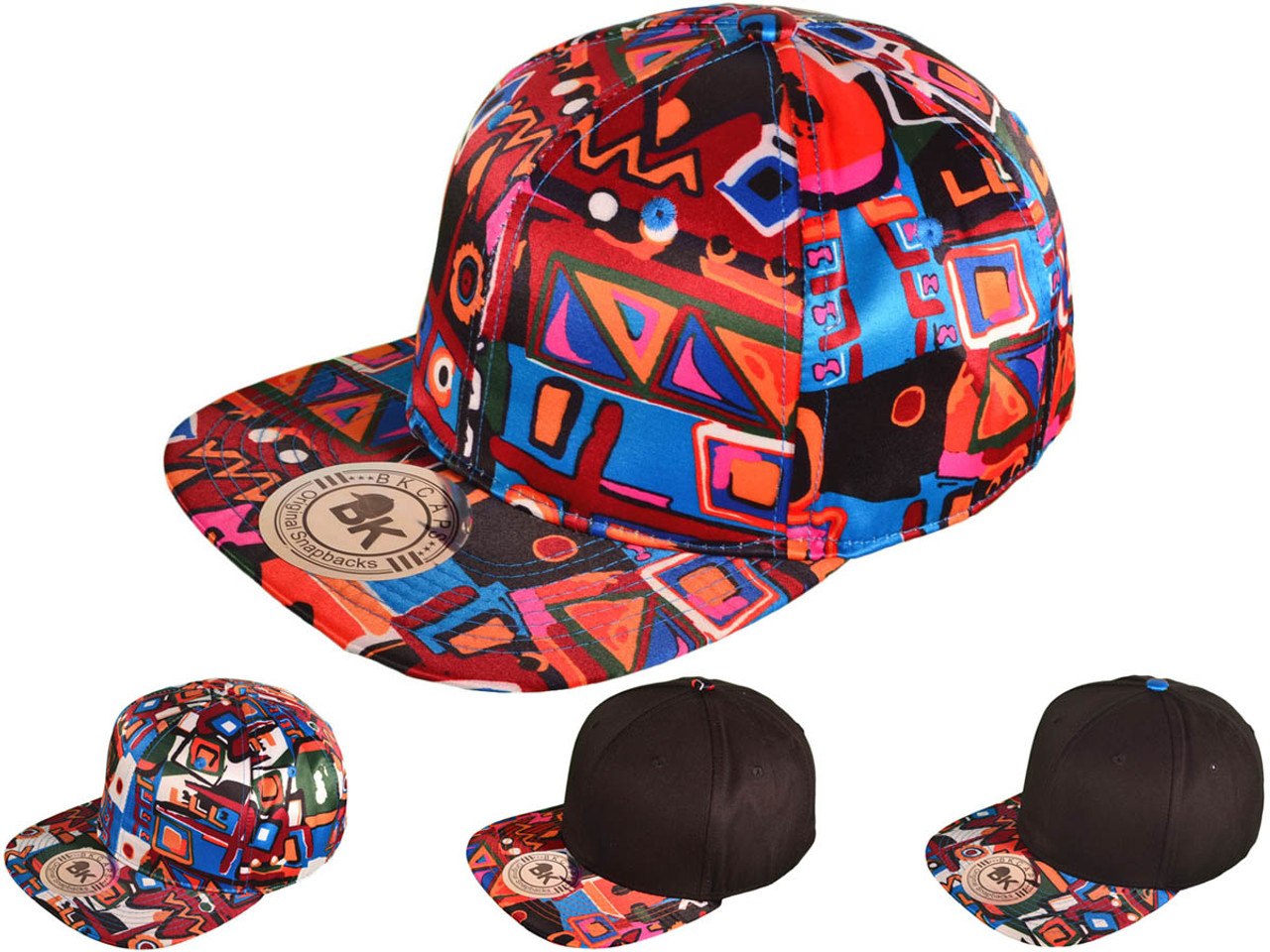 24c01244f Aztec Snapback Hats - Flat Bill 2 Tone BK Caps (4 Color Choices) - 4445