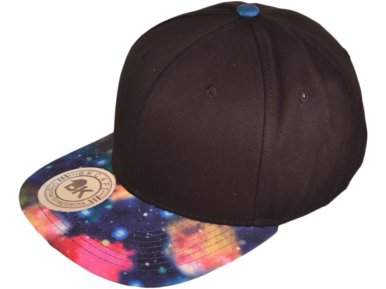 122e843f BK Caps Galaxy Flat Bill 2 Tone Snapback Hats (Black/Multicolor Galaxy)