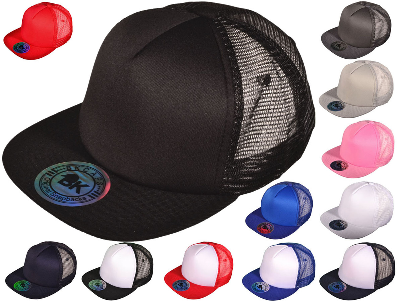 Wholesale BK Caps 2 Tone Flat Bill Polyester Foam Front Mesh Back Trucker  Hats (White Black) 260f30015a5