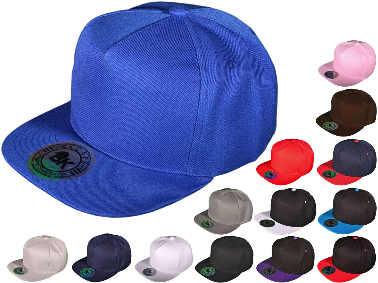 Wholesale BK Caps Flat Bill 5 Panel Snapback Hats with Same Color ... 51fbf90043a