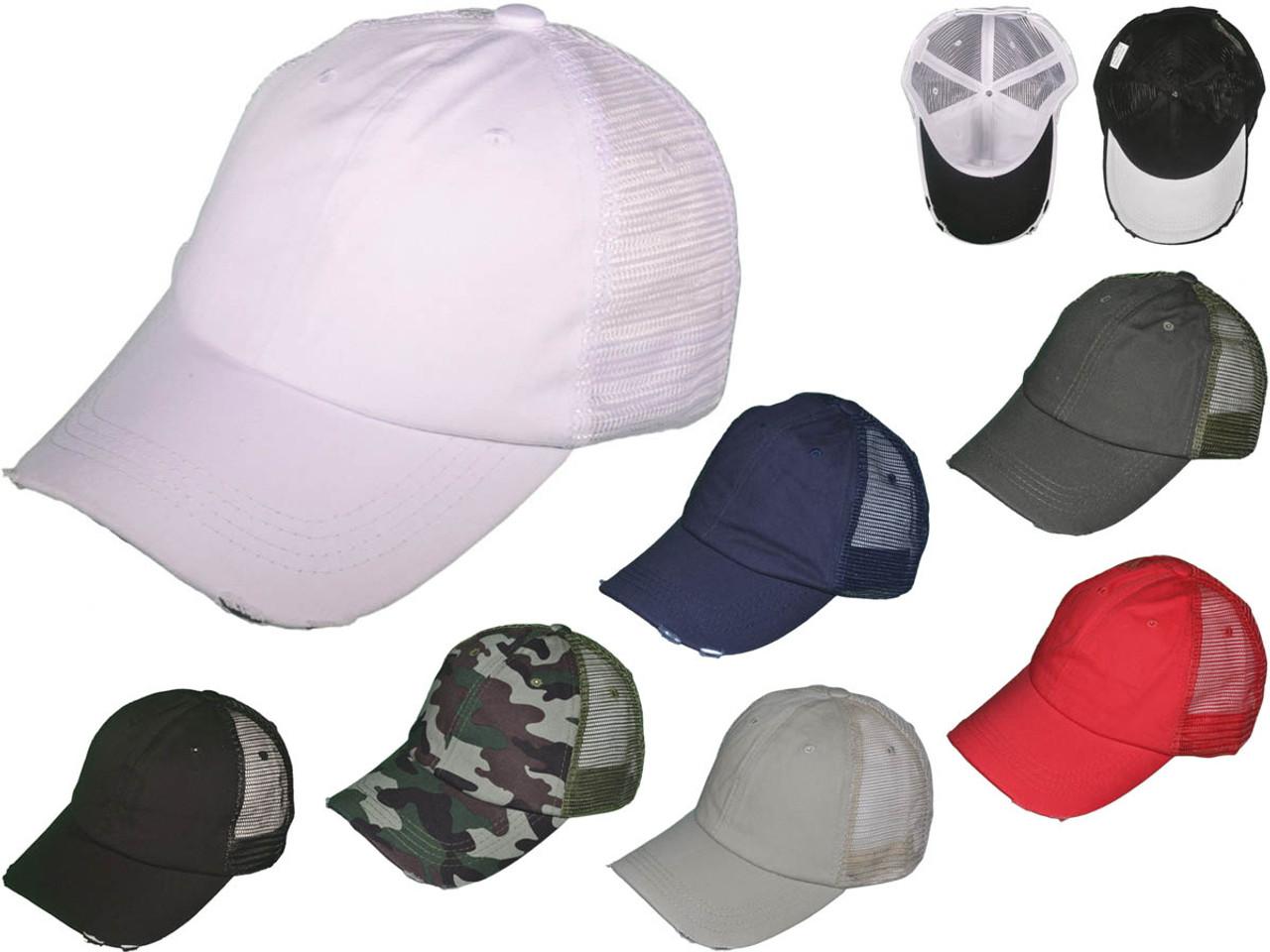 c6f33342 Wholesale BK Caps Low Profile Unstructured Cotton Distressed Mesh ...