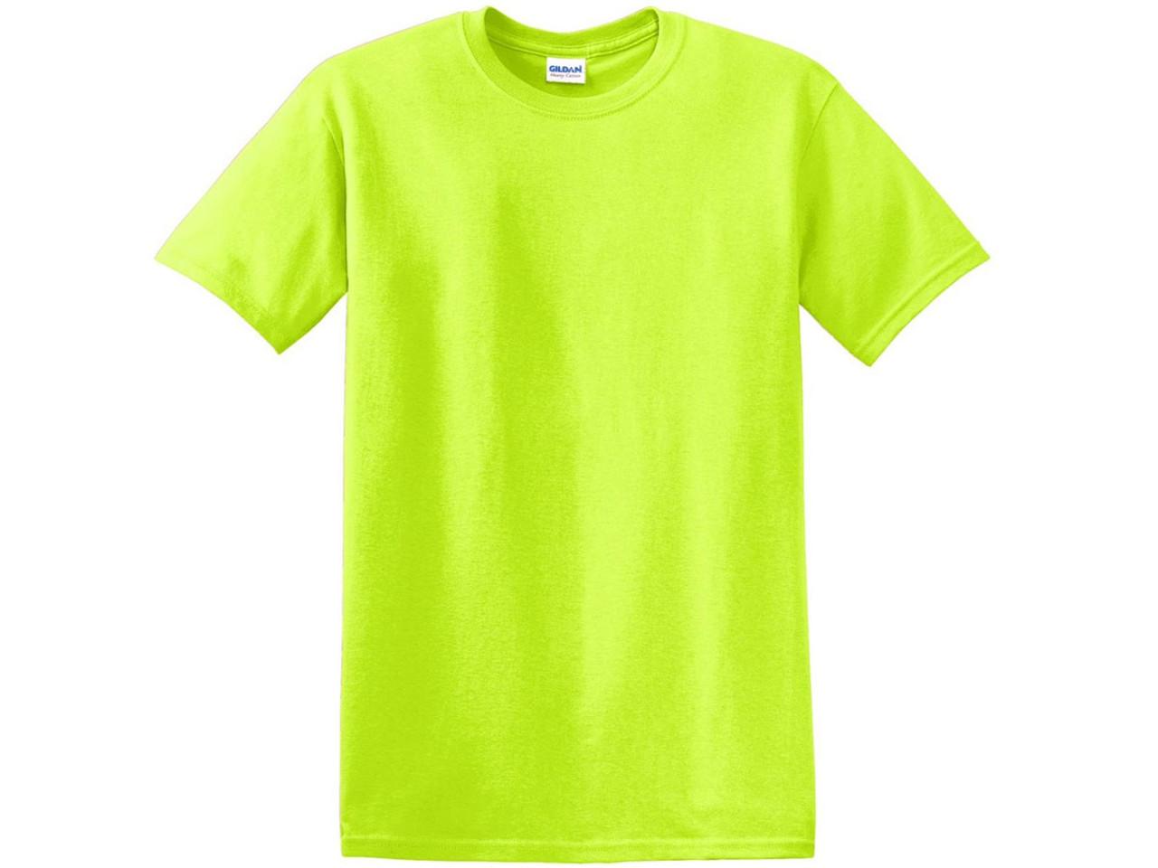 Blank T‑Shirts - Gildan G8000 Adult Unisex 5 5 oz , 50/50 Cotton/Poly (Neon  Safety Green, SM-3XL) - 4943